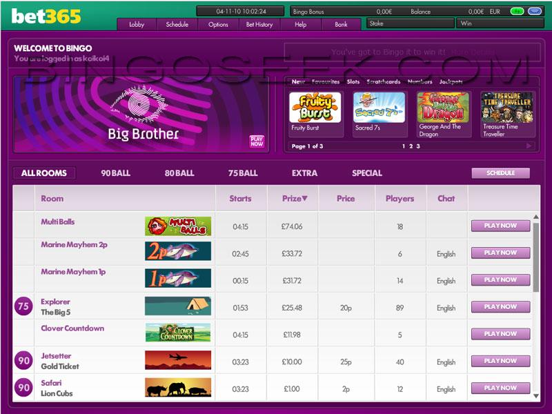 bet365 Bingo Lobby